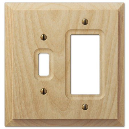 Amerelle Cambridge 2-Gang Unfinished Wood 1 Toggle 1 Rocker Wall Plate 1 Toggle / 1 Rocker