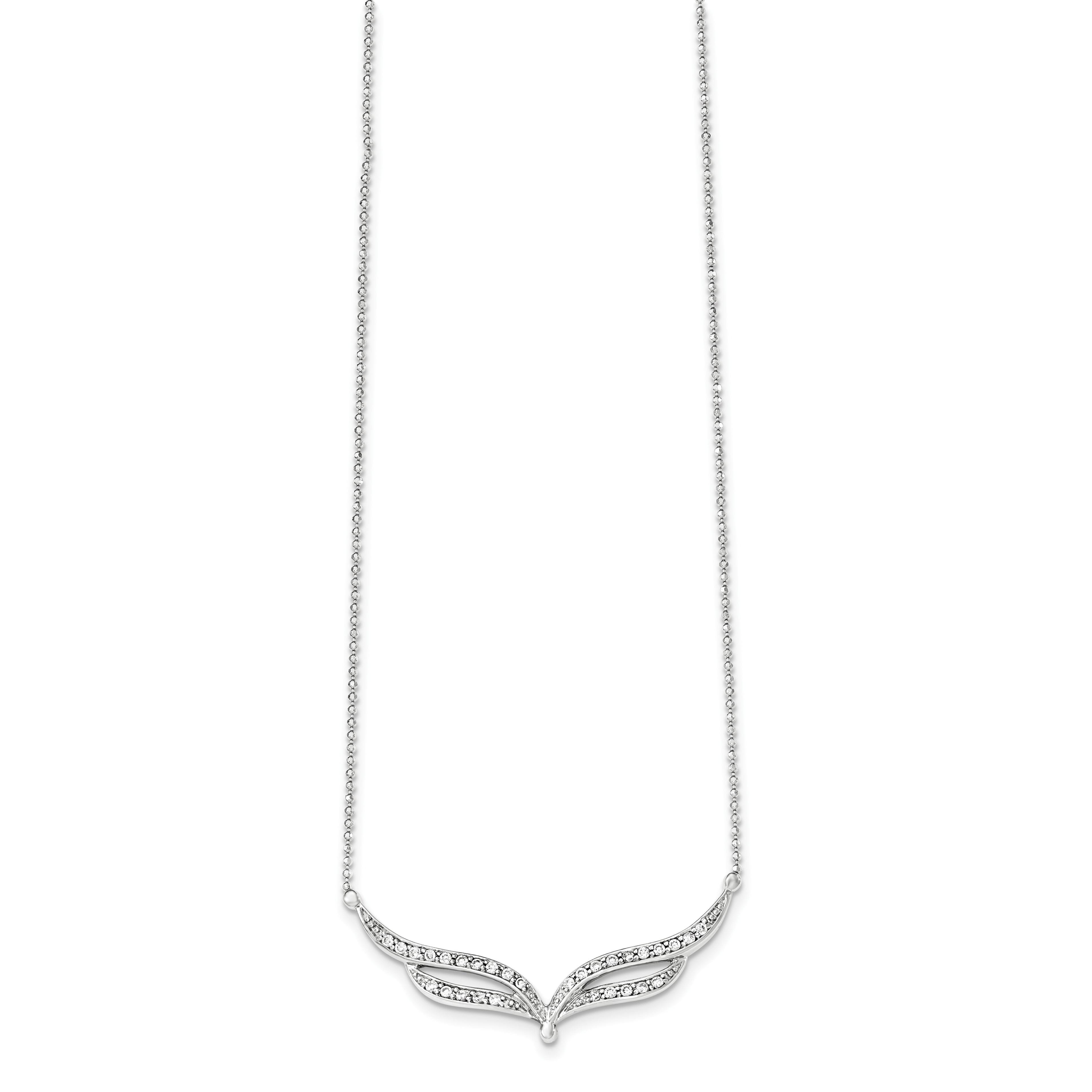 Sterling Silver Cubic Zirconia Bead Barrel Pendant Necklace