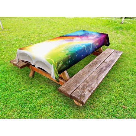 Magical Outdoor Tablecloth, Psychedelic Open Book of Fairy Tales on Gradient Rainbow Color Floral Background, Decorative Washable Fabric Picnic Table Cloth, 58 X 84 Inches,Multicolor, by Ambesonne ()