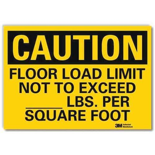 LYLE U4-1315-RD_10X7 Safety Sign,Floor Limit Not Exceed,10inW G2278818