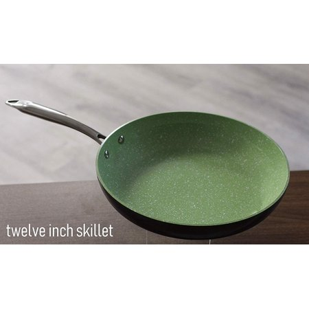 Catering Line Natura Twelve Inch Ceramic Skillet | 100% Nontoxic, Natural  Nonstick Ceramic Coating, Oven and Dishwasher Safe, For Gas, Electric, and