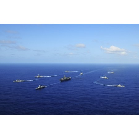 Ships From The Ronald Reagan Carrier Strike Group Transit The Pacific Ocean Canvas Art   Stocktrek Images  35 X 23