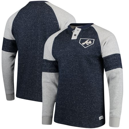 best sneakers c6e7a 47fdf Atlanta Braves Stitches Twisted Yarn Henley Long Sleeve T-Shirt - Navy