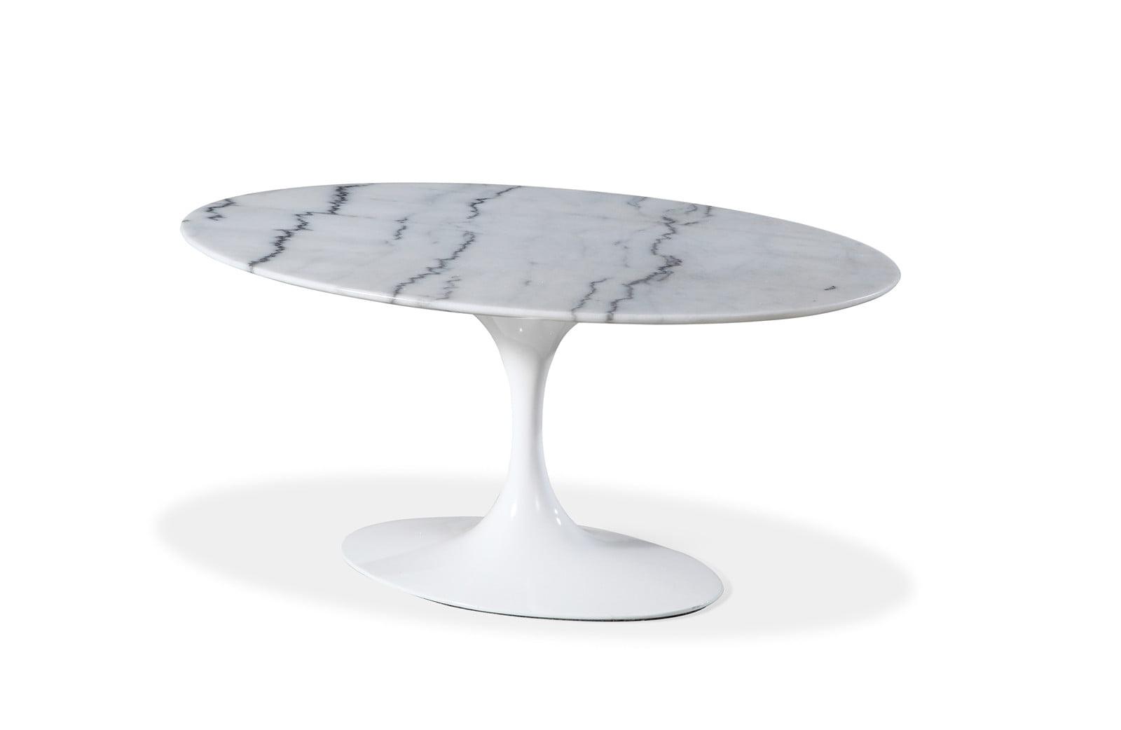 Mid Century Modern Saarinen Style Tulip Marble Oval Dining Table 66 W