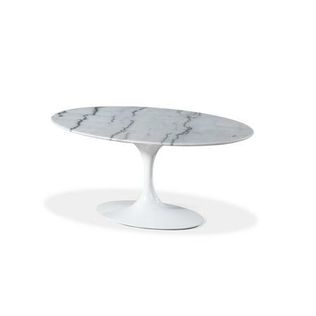 Mid-Century Modern Saarinen Style Tulip Marble Oval Dining Table 66