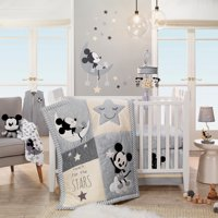 Disney Baby Mickey Mouse Gray/Yellow 4-Piece Crib Bedding Set by Lambs & Ivy