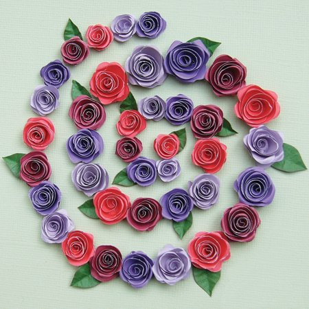 Quilling Kit Spiral Roses Burgundy Red Purples