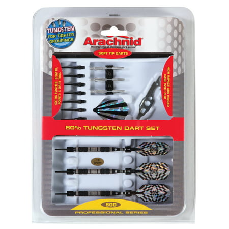 Arachnid 90% Tungsten Soft Tip Dart Set Includes Tungsten Barrels, Striped Aluminum Shafts, Flights, Points, and Case