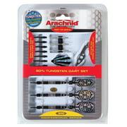 Arachnid 90% Tungsten Soft Tip Dart Set Includes Tungsten Barrels, Striped Aluminum Shafts, Flights, Points, and Case (18-Gram)