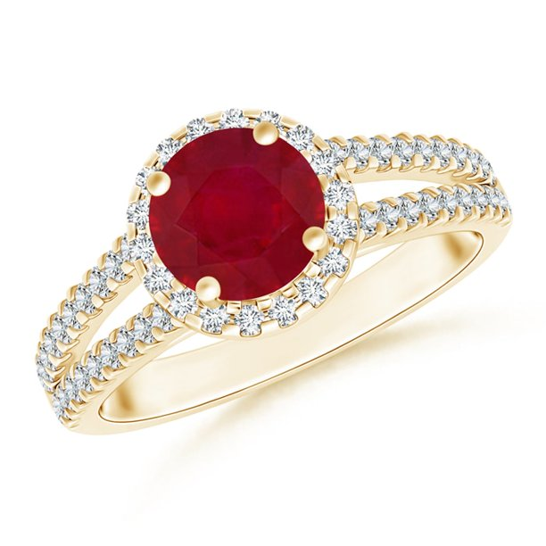 July Birthstone Ring - Twin Shank Ruby Halo Ring with Diamond Accents in 14K Yellow Gold (7mm Ruby) - SR0721RD-YG-AA-7-13
