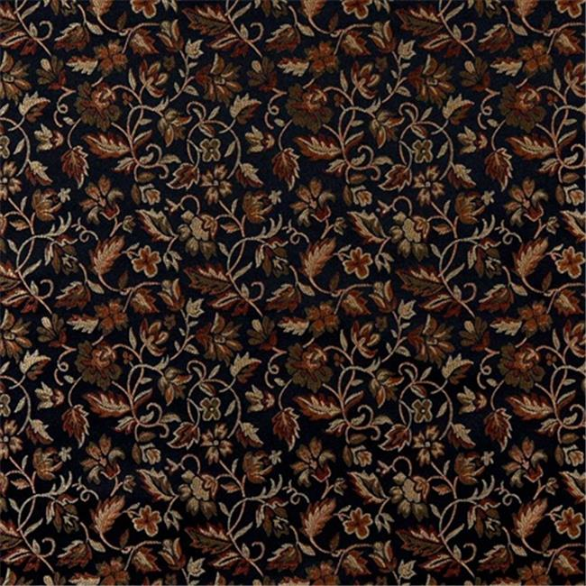Designer Fabrics E620 54 in. Wide Floral Black, Gold, Green And Orange Damask Upholstery And Window Treatment Fabric