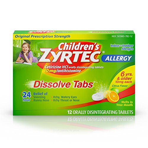 4 Pack Children's Zyrtec Allergy Dissolve 10mg Tablets Citrus 12 count Each