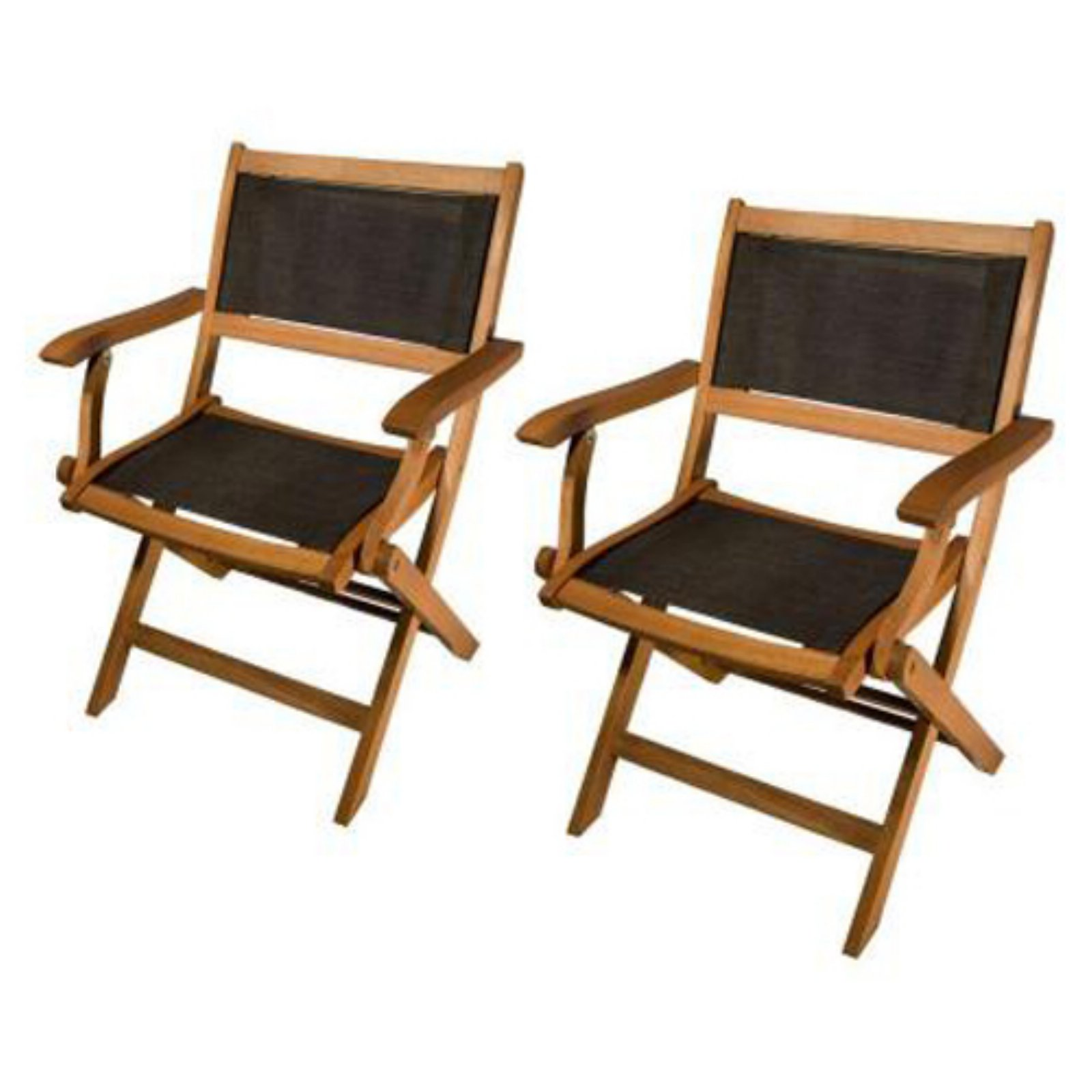 Phat Tommy Sea Breeze Folding Patio Arm Chairs - Set of 2