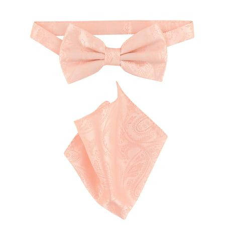 Vesuvio Napoli BowTie Peach Color Paisley Color Mens Bow Tie &