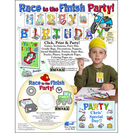 ScrapSMART Race to the Finish Party CD-ROM: Cars, Trucks, Planes, Motorcycle, Boat and More - Motorcycle Birthday Party Supplies