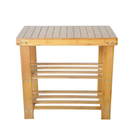 KARMAS PRODUCT 2-Tire Shoe Bench Entryway Storage Shelf Bamboo Shoes (Entryway Shoe Rack)