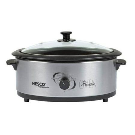 Nesco 6 Quart Capacity Stainless Steel Roaster Oven - Non-Stick Cookwell - Black