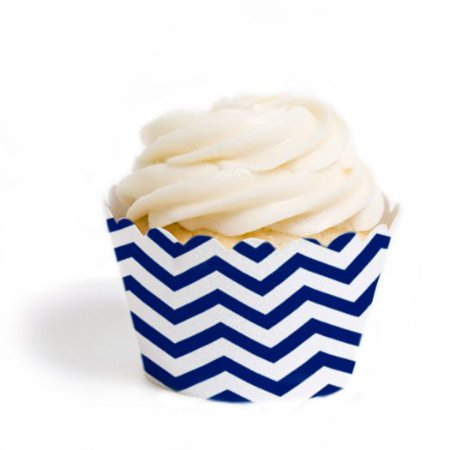 Dress My Cupcake Mini Cupcake Wrappers, Chevron, Navy Blue, Set of 18