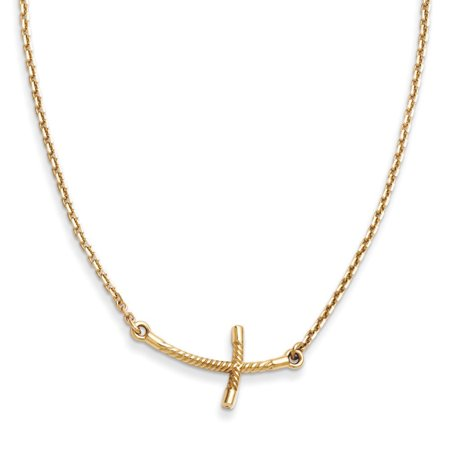 14k Small Sideways Curved Twist Cross Necklace (Crystal Sideways Cross)