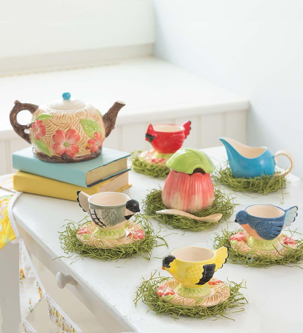 Ceramic Songbird Tea Set with Teapot, Cups, Saucers, Sugar Bowl & Creamer