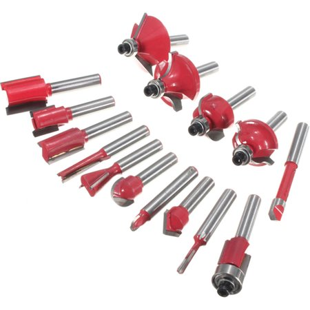 15Pcs Router Bit Set Wood Working 1/4'' Shank Tungsten Carbide Rotary Tool Kit - image 5 of 8