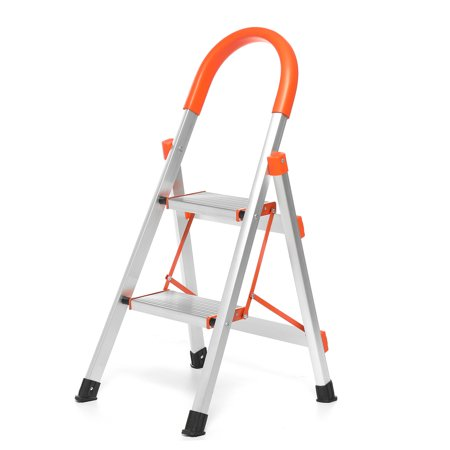 Kadell Aluminum Foldable 2 Step Ladder Non slip Platform Step Stool Li
