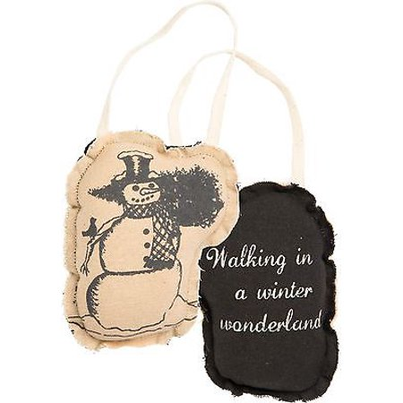 WALKING IN A WINTER WONDERLAND Pillow Christmas Ornament, Primitives by Kathy