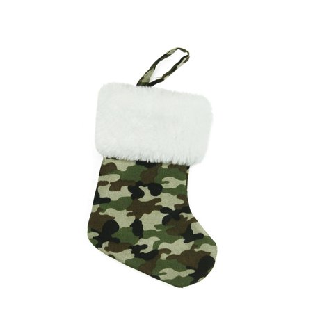 """7"""" Army Camouflage Mini Christmas Stocking with White Faux Fur Cuff - image 1 of 1"""