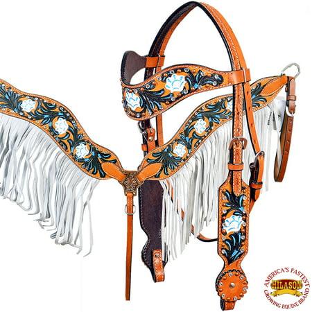 Western Horse Headstall Breast Collar Set Tack American Leather Tan Black Latigo Leather Breast Collar