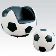 Kingfisher Lane Soccer Kids Chair with Ottoman in Black and White