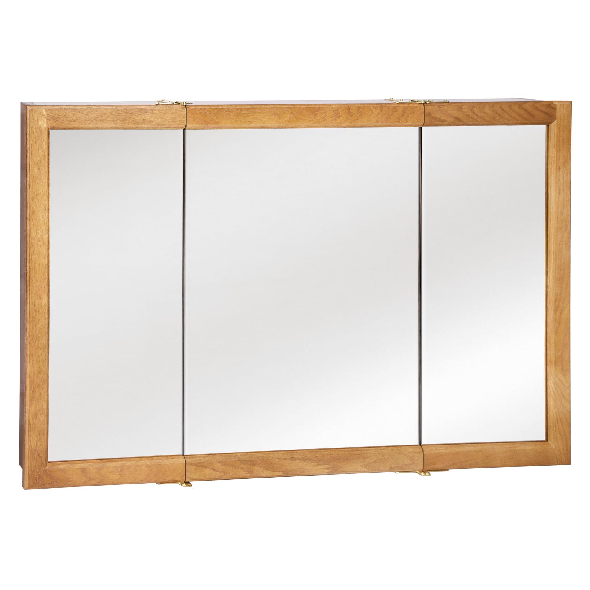 Design House 530584 Richland Tri View Medicine Cabinet Mirror 48 Nutmeg Oak Walmart Com Walmart Com