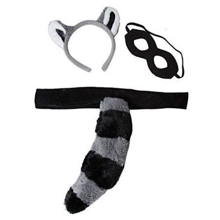 Halloween Cat Mask And Ears (Kids Plush Raccoon Headband Ears, Mask & Tail Costume)