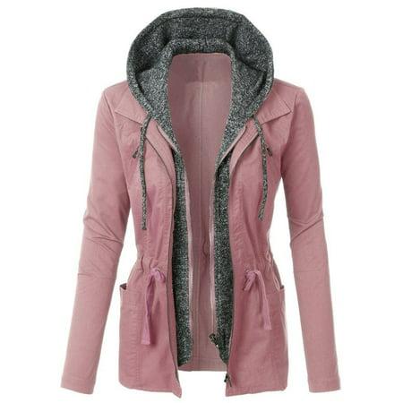 Long Sleeve Double Layer Patchwork Hooded Zip Up Jacket Coat Double Zip Hooded Jacket