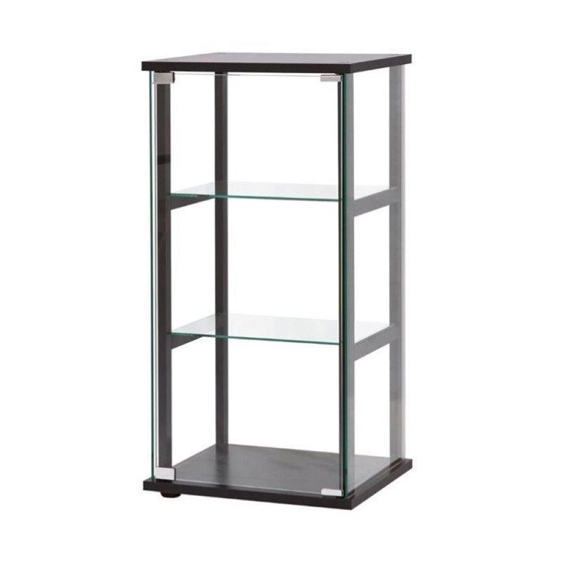 Bowery Hill 3 Shelf Contemporary Glass Curio Cabinet in Black by Bowery Hill