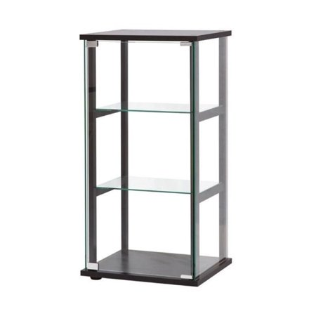 Shelf Curio Case - Bowery Hill 3 Shelf Contemporary Glass Curio Cabinet in Black