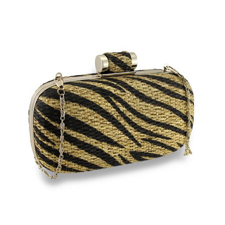 Tiger Striped Basket Weave Evening Clutch w/Removable Chain Strap