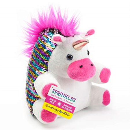 Creativity for Kids Mini Sequin Pets - Sprinkles The Unicorn Plush - Weighted Sensory Toys for Kids