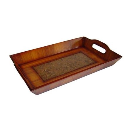 Cheungs FP-2432C Wooden Rectangular Decorative Tray in Brown