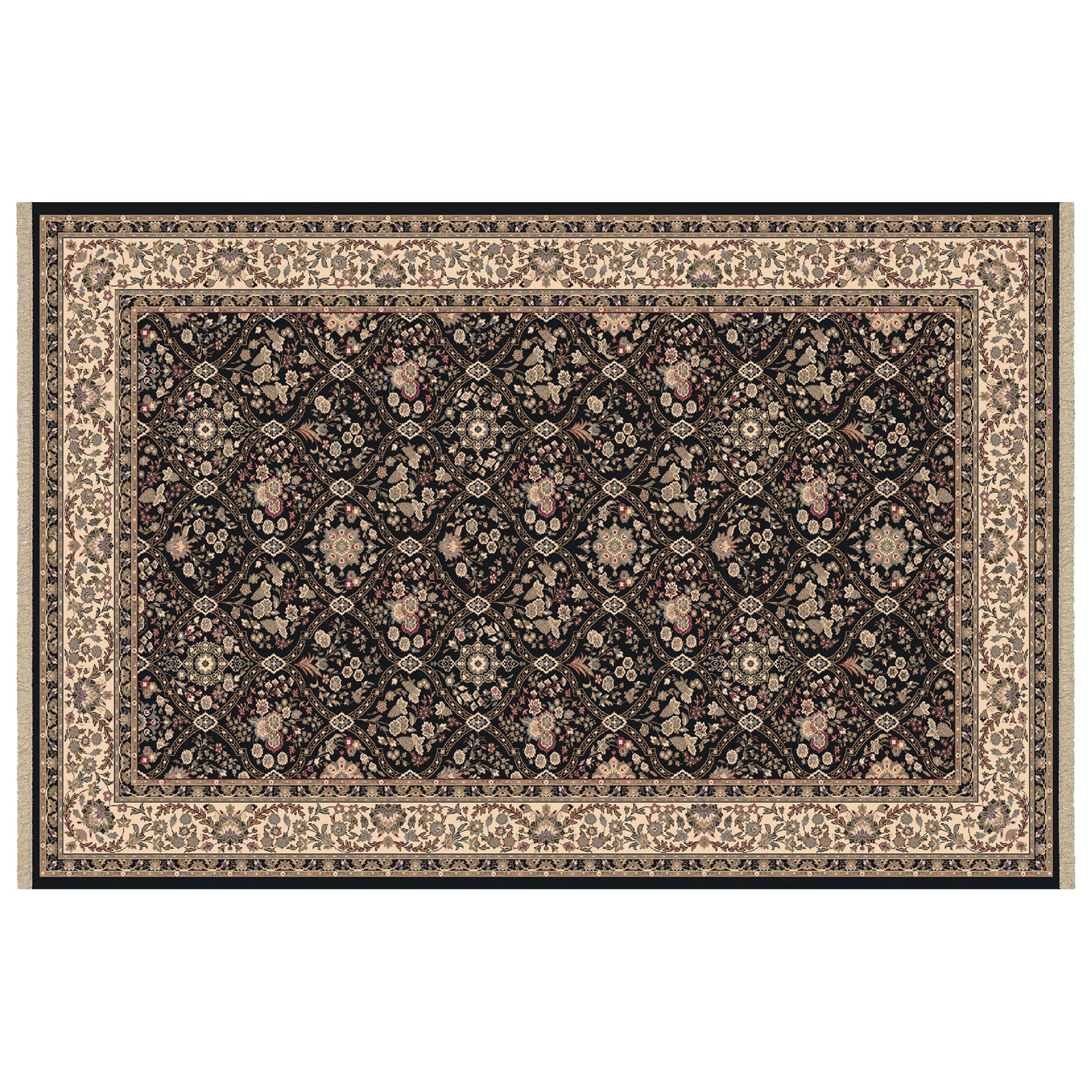 Dynamic Rugs Brilliant Collection Wool Hearth Rug-Black Onyan by Dynamic Rugs