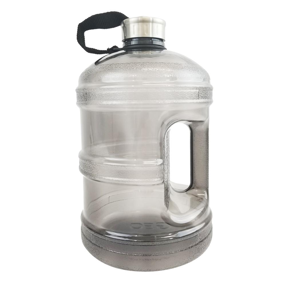 1 Gallon BPA FREE Reusable Plastic Drinking Water Bottle w/ Stainless Steel Cap - Black