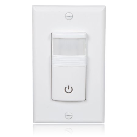Maxxima Occupancy/Vacancy Motion Sensor PIR Wall Switch, Wall Plate Included Decora Motion Sensor Occupancy Switch