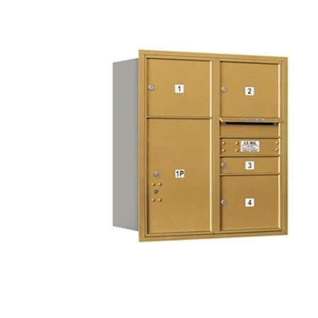 - Salsbury 3709D-04GRP 4C Horizontal Mailbox Includes Master Commercial Lock - 9 Door High Unit - 34 Inches - Double Column - 1 Mb1 Door - 3 Mb3 Doors - 1 Pl6 - Gold - Rear Loading - Private Access