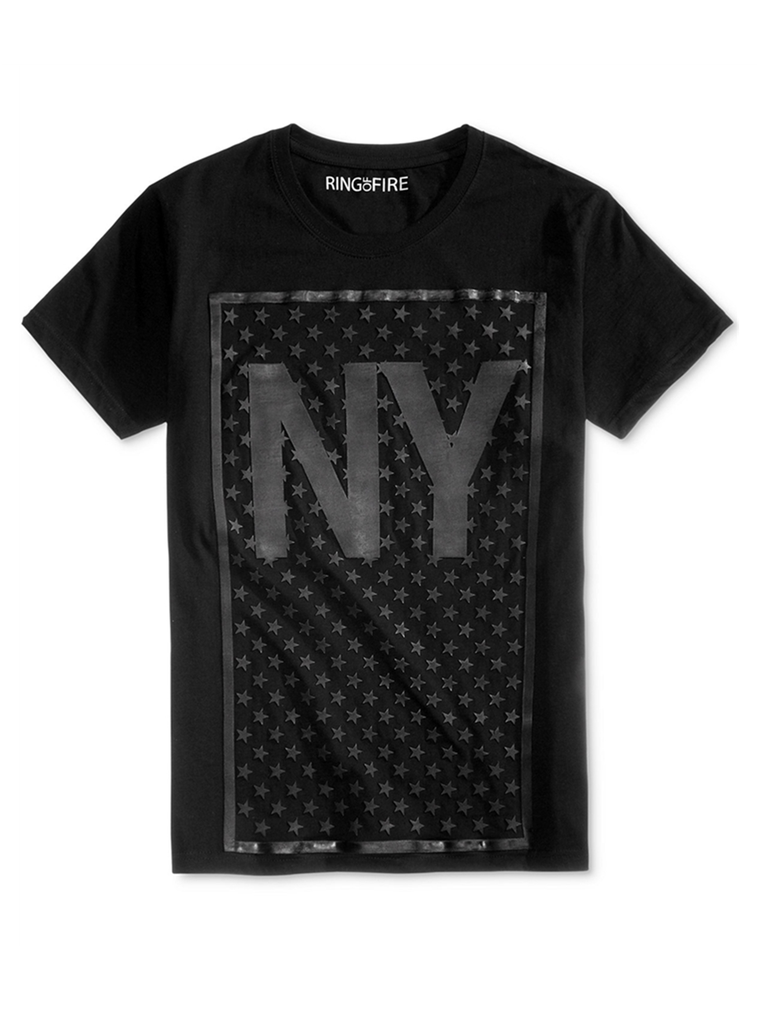 Ring Of Fire Mens NY HD Stars Graphic T-Shirt