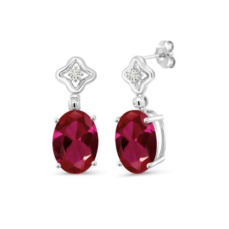 925 Sterling Silver Dangle Earrings Oval Red Created Ruby and Forever Classic Created Moissanite 0.12ct (DEW) by Charles & Colvard