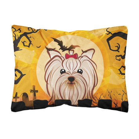 Halloween Yorkie Yorkshire Terrier Fabric Decorative Pillow