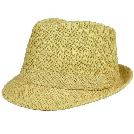 Woven Straw Adult Gangster Hat Small Medium FD-112 Stetson Khaki Fedora Trilby