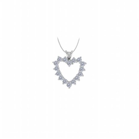 UBNPD31121W14CZ April Birthstone CZ Heart Pendant in 14K White Gold With 2.50 CT, 16 Stones