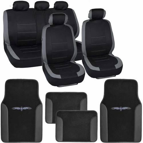 BDK Venice Series Car Seat Covers with 4 Pieces Floor Mats, Split Bench, Easy Installation, 3 Colors