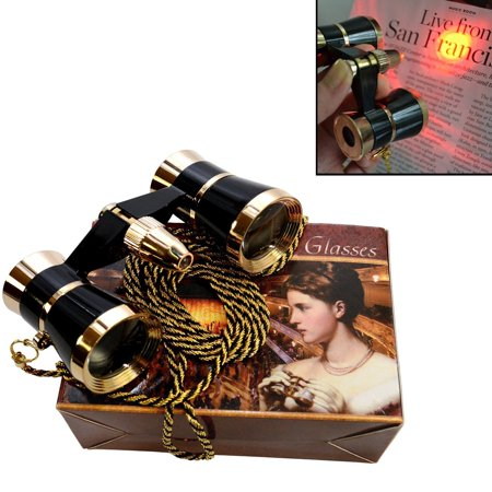 Black Glass Necklace - 3 x 25 Opera Glasses Binocular with Red Reading Light, Black with Gold Trim w/ Necklace Chain