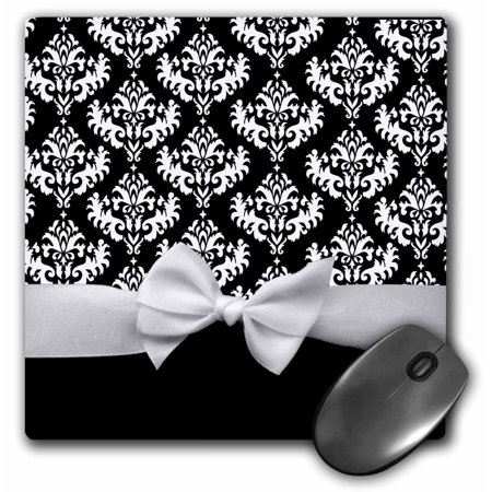 3dRose Black and White Damask pattern with elegant and classy white ribbon bow for stylish women, Mouse Pad, 8 by 8 - Ribbons And Bows